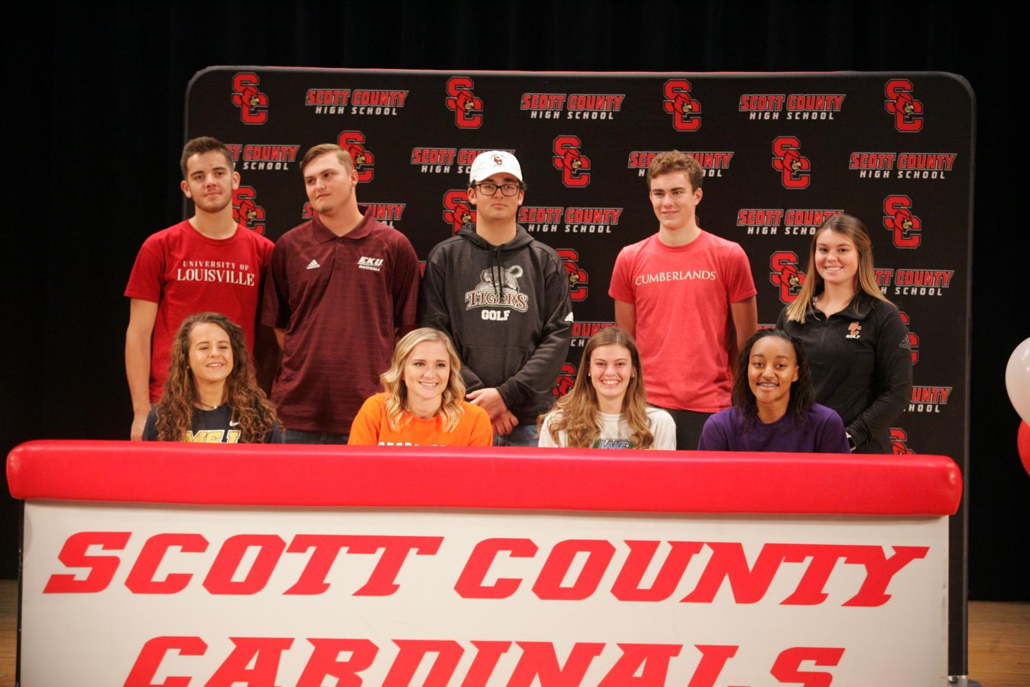 Nine SCHS seniors committed to participating in athletics at the college level on November 14, 2018.