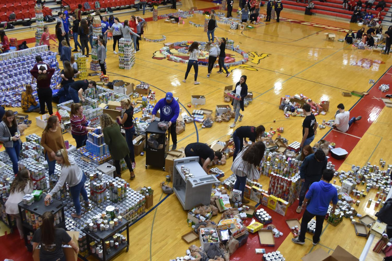 Team+Guidance+prepares+its+display+in+the+gym.++Guidance+was+the+winner+for+the+2018+food+drive+for+the+most+cans+donated.++