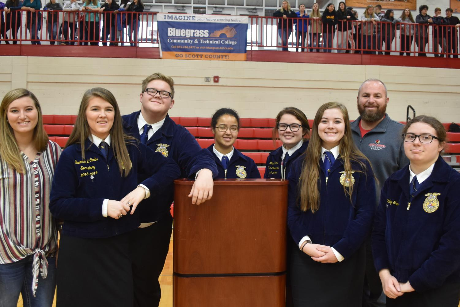 The+FFA+chapter+at+SCHS+worked+hard+to+promote+the+canned+food+drive+assembly+this+year.++
