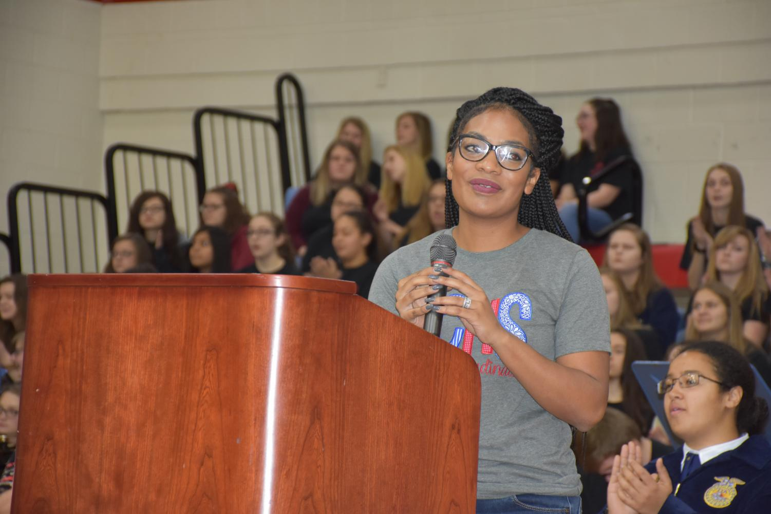 Principal+Meocha+Williams+welcomed+the+students+to+the+annual+Thanksgiving+assembly.+