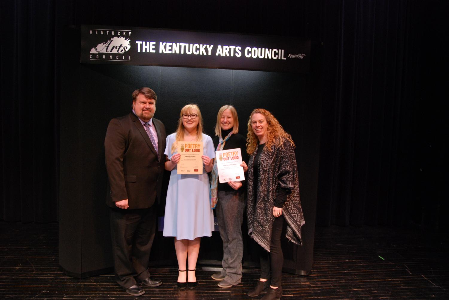 Hannah Tirlea recently was named the runner-up in the state Poetry Out Loud competition.  Judges for the contest included well-known KY authors Frank X Walker and Frederick Smock.